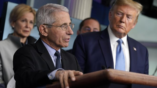 Dr. Anthony Fauci, director of the National Institute of Allergy and Infectious Diseases, speaks as Dr. Deborah Birx, White House coronavirus response coordinator, and President Donald Trump listen during a press briefing at the White House on March 16.