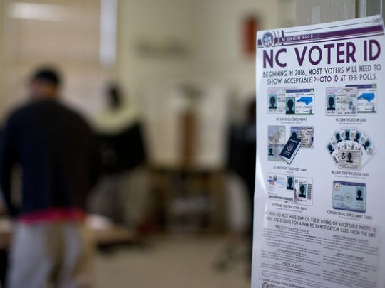 This photo taken March 15, 2016, shows a NC Voter ID