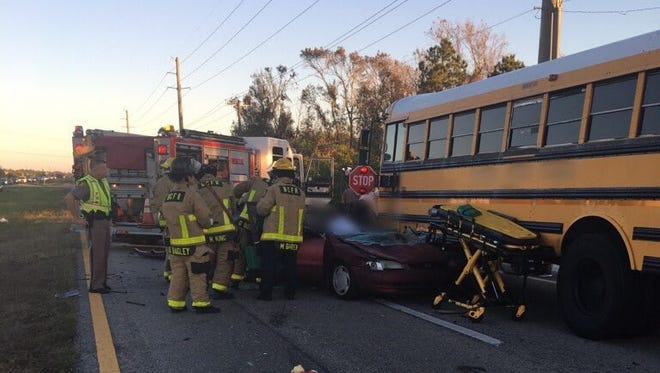 No students were injured after a school bus was involved in a crash in Viera Jan. 24, 2017.
