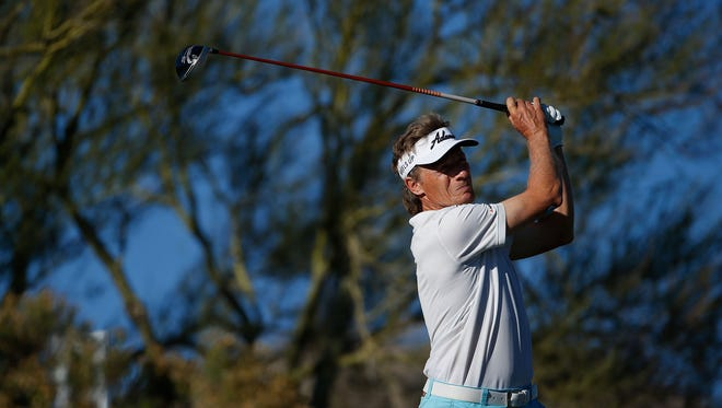 Bernhard Langer of Germany plays a tee shot on the 15th hole during the third round of the Charles Schwab Cup Championship on the Cochise Course at The Desert Mountain Club on November 7, 2015 in Scottsdale, Arizona.