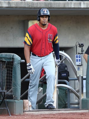 Mud Hens third baseman Jeimer Candelario waits to bat during first inning action against the Columbus Clippers Friday, August 4, 2017, at Huntington Park in Columbus, Ohio.