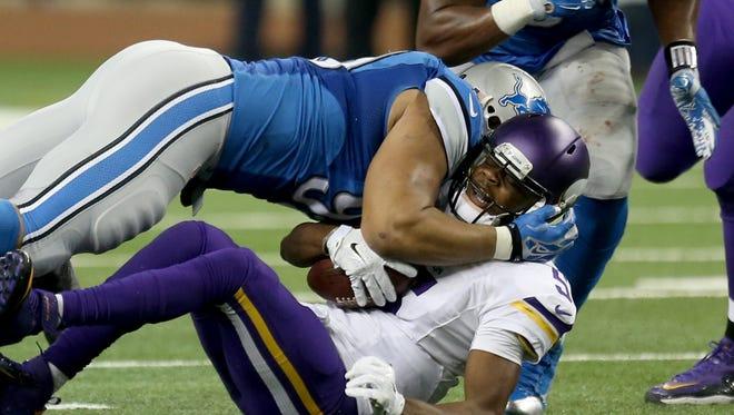 Lions defensive lineman Ndamukong Suh sacks Vikings QB Teddy Bridgewater during the fourth quarter Sunday at Ford Field.