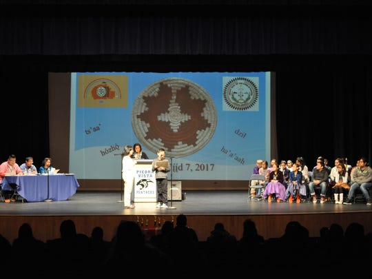 Students from across the Farmington Municipal School District compete in the eighth annual Navajo spelling bee March 7 at the Turano-Chrisman Performing Arts Theater at Piedra Vista High School.