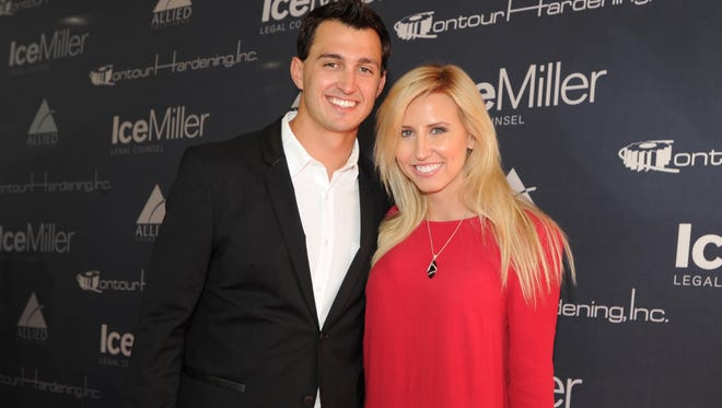 Graham Rahal and Cortney  Force on the red carpet during the Indianapolis 500 Victory Banquet  Monday  May 26, 2014 at The Indianapolis Motor Speedway