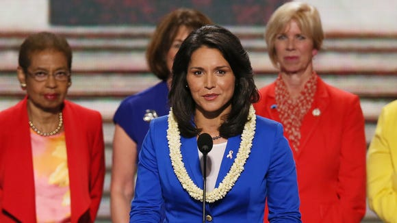 Rep. Tulsi Gabbard of Hawaii spoke with other women candidates at the 2012 Democratic National Convention.