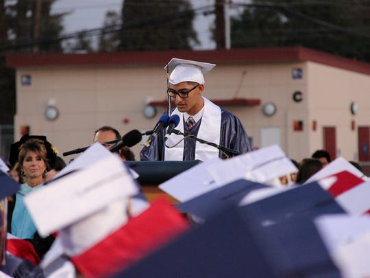 Tulare Western High School graduation ceremony at Bob Mathias Stadium on June 3, 2016.