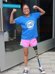 Cancer survivor Kaela Cruz, 13, of Sayreville, competes
