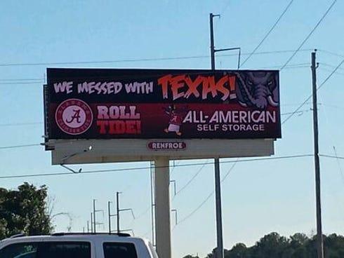 Bama billboard trolling Texas