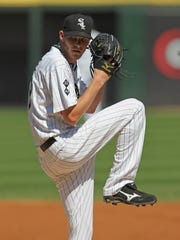Pitcher Chris Sale #49 of the Chicago White Sox delivers