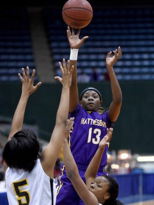 Jazmin Boyd shoots a pull-up jumper against Starkville on Saturday, March 7, 2015, in the MHSAA state basketball tournament at the Mississippi Coliseum on Mississippi State Fairgrounds in Jackson, Miss.