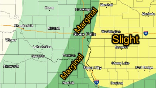 Possibility of severe weather in southeastern South Dakota on Saturday, June 24, 2016.