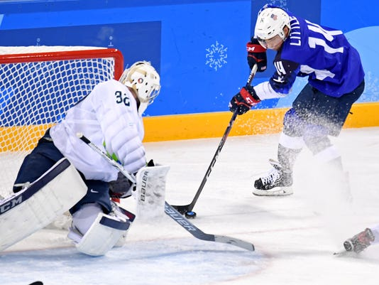 Olympics: Ice Hockey-Men Team Group B - USA-SLO