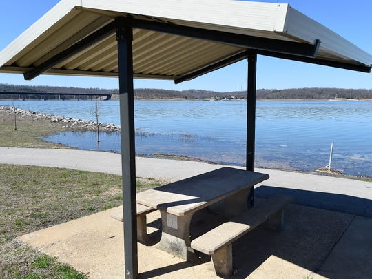 A campsite at Henderson Park sits close to a rising Norfork Lake. Bull Shoals and Norfork lakes are expected to rise slightly above normal, which could impact several campsites and boat launch areas.