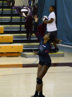 Maryland Eastern Shore's Koya Sowells serves against Rider University on Saturday, Sept. 3, 2016, during the Courtyard Classic held in Princess Anne.