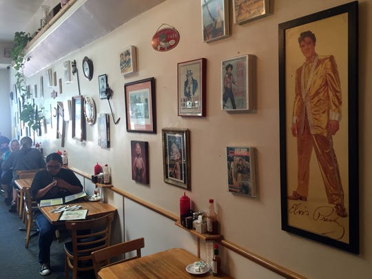 Pop memorabilia on the walls of Old Monterey Cafe
