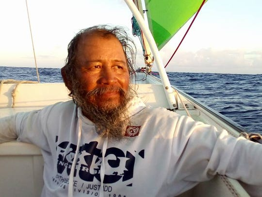 "Ignacio R. ""Nash"" Camacho aboard the Ana Varu recently. Camacho sailed out of Taiwan with German sailor and adventurer Burghard Pieske, who planned to sail a traditional Chamorro-style proa from Taiwan to Easter Island, traveling with seafarers from the various Pacific islands across the ocean. The first leg, from Taiwan, was to end in Guam but rough seas took the proa to Palau."