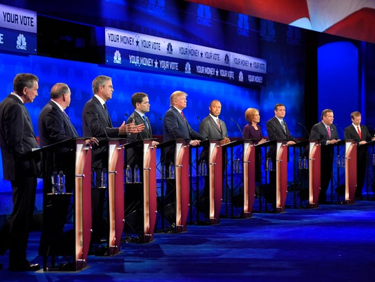Republican presidential candidates, from left, John
