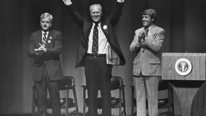 On April 23, 1976, President Gerald Ford visited Evansville for a campaign rally during Ronald Reagan's ultimately unsuccessful primary challenge.