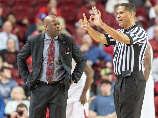 Arkansas head coach Mike Anderson reacts to a foul call in this file photo. Anderson was fired Tuesday after eight seasons as head coach.