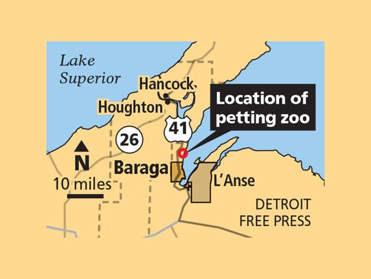 Location of Pete's Petting Zoo.