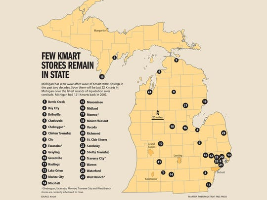 Few Kmart stores remain in Michigan.