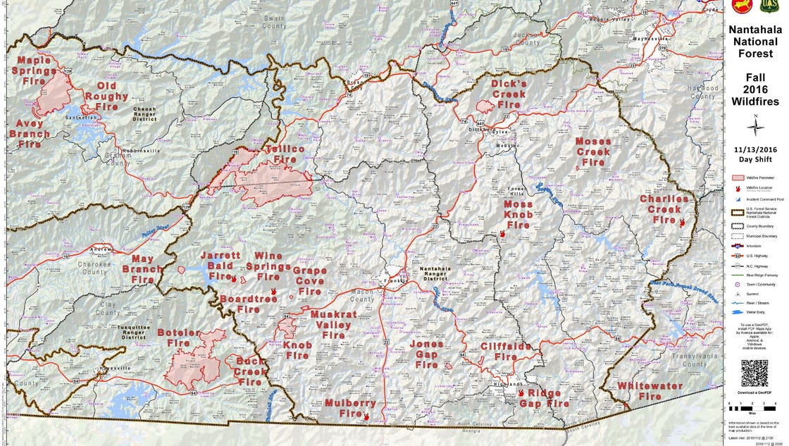 North Carolina Wildfire Map.Wildfire Map Of West Nc Www Imagessure Com