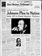 The Des Moines Tribune front page after Marin Luther King Jr.'s assassination.