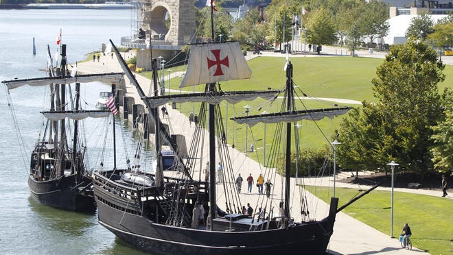Replicas of the Nina, left, and a larger scale replica of the Pinta, right, are moored on the north shore of the Allegheny River in Pittsburgh in September 2012.
