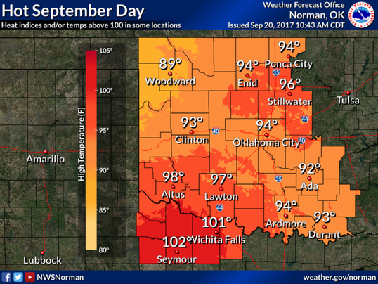 Wichita Falls temperature, Sept. 20, 2017