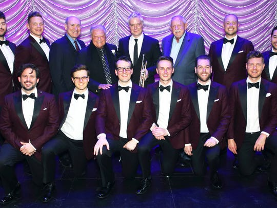 Gala guests artists, the famed trumpeter Chris Botti and the McCallum favorites The Ten Tenors with McCallum President Mitch Gershenfeld (back row, 2nd from left), followed by Honoree and McCallum Chairman Harold Matzner, and Gala Co-Chair RD Hubbard (back row, 2nd from right).