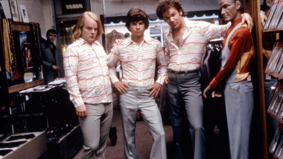 """""""Boogie Nights"""" cast from left to right::  Philip Seymour Hoffman, Mark Wahlberg and John C. Reilly in 1997."""