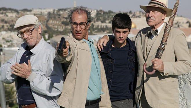"Moni Moshonov, Sasson Gabai, Gil Blank and Patrick Stewart star in ""Hunting Elephants."""