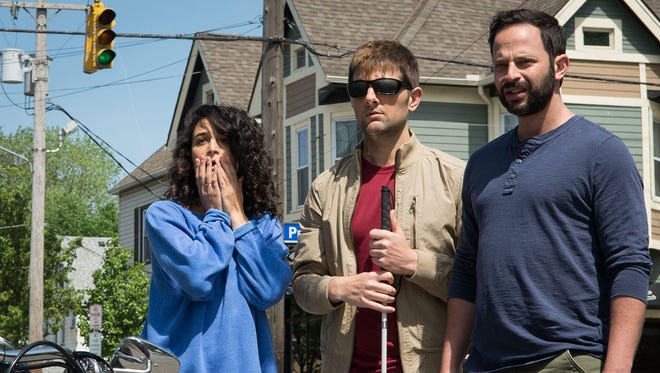 """Jenny Slate, Adam Scott and Nick Kroll form an awkward love triangle in """"My Blind Brother."""""""