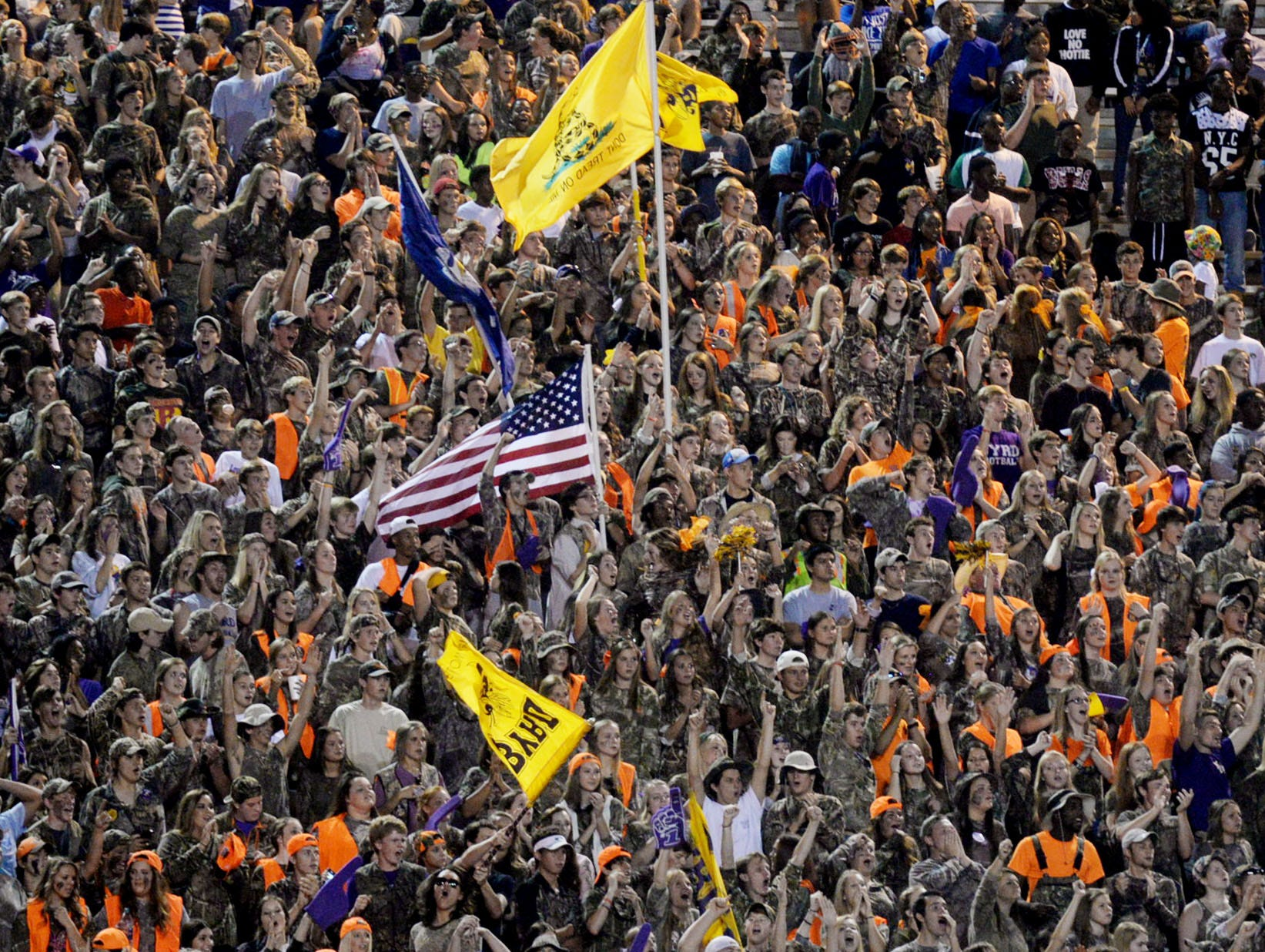 The Byrd fans cheer during a game at Lee Hedges Stadium this season.