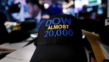 Still waiting for Dow 20,000: A hat made by trader Peter Tuchman is seen on the floor of the New York Stock Exchange on Jan. 6, 2017. (EPA/JUSTIN LANE)