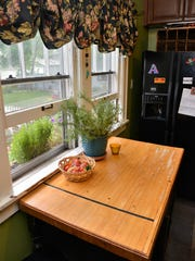 The Seitz's kitchen table is constructed from a piece of an old bowling alley lane.