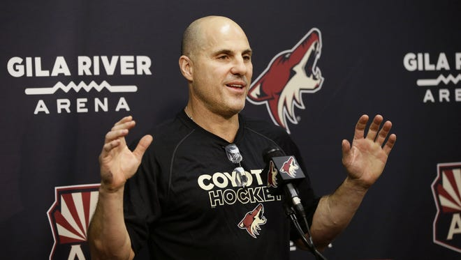 Arizona Coyotes head coach Rick Tocchet during media day news conference on Thursday, Sep. 14, 2017 at Gila River Arena in Glendale, Ariz.