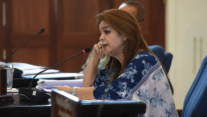 Sen. Louise Borja Muna during a legislative session at the Guam Congress Building in Hagåtña on March 9, 2018.