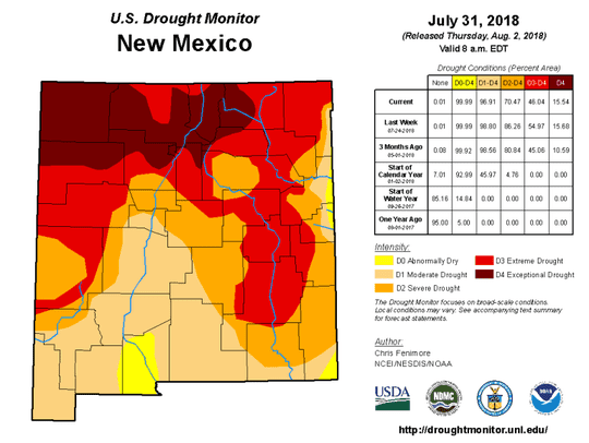 U.S. drought monitor in Las Cruces, released July 31,