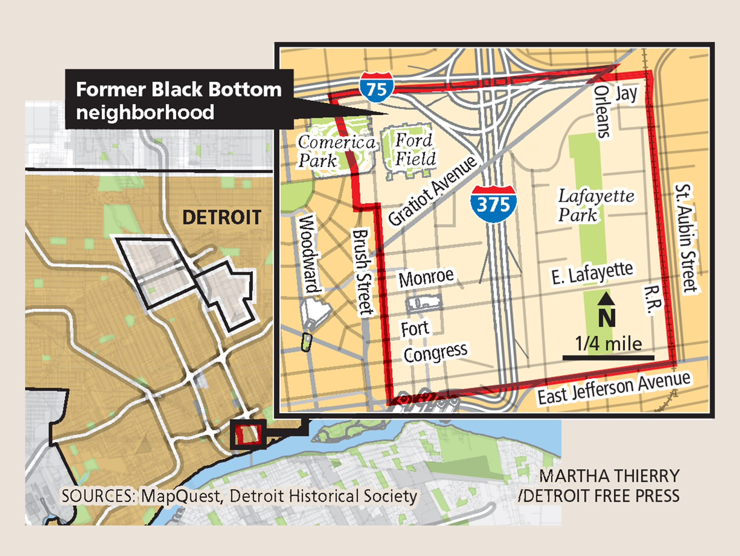 A map of the former Black Bottom neighborhood in Detroit.