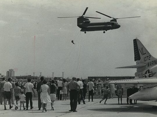 The first Summerfest, held in 1968, included an air show called Air Age '68 at Mitchell International Airport. These helicopters, shown on July 26, 1968, were bound for Vietnam immediately after the show closed two days later. This photo was published in the July 27, 1968, Milwaukee Sentinel.