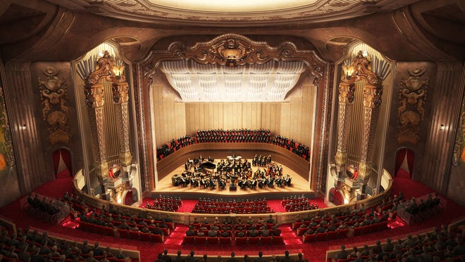 An artist's rendering of the Milwaukee Symphony's proposed new concert hall at the Warner Grand Theatre on W. Wisconsin Ave.