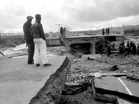 A fierce storm in 1938 washed out the Palm Springs bridge over Tahquitz wash on Palm Canyon Drive.
