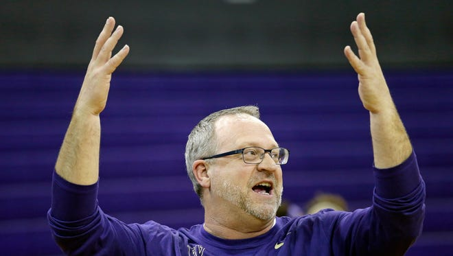 UW women's coach Mike Neighbors motions to his team at a practice before Saturday's  first-round NCAA Tournament game in Seattle.