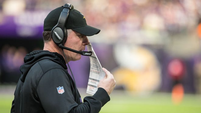 Minnesota Vikings offensive coordinator Pat Shurmur looks on during the second quarter against the Chicago Bears at U.S. Bank Stadium.