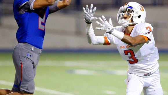 Americas' Nathan Carrazco, 2, intercepts a pass intended