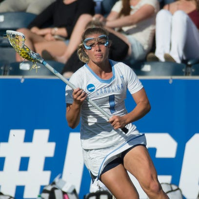 North Carolina defender/midfielder Mallory Frysinger in action during the first half of the semifinals in the NCAA Division I women's lacrosse tournament against Duke on Friday. The Corning East graduate helped the Tar Heels to a 16-7 victory.