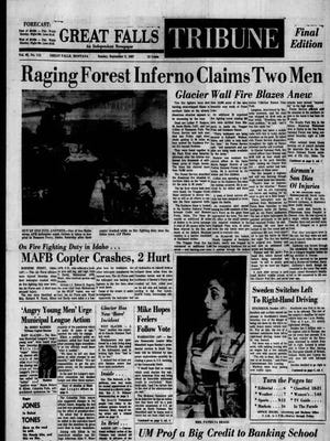 Front page of the Great Falls Tribune from Sunday, Sept. 3, 1967.