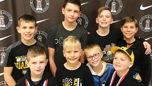 Among the Matcats competing at the Winter Nationals included (top row, from left) Aidan Meyers, Travis Richardson, Aiden Smith, Daniel Russell, Gavin Boller, Ethan Smith, Beck Yurkunas and Bronson Shinkonis.