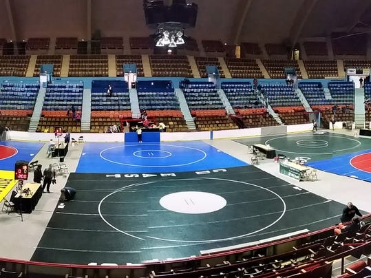 The mats at Hersheypark Arena early Friday morning before the District 3 tournament got underway.